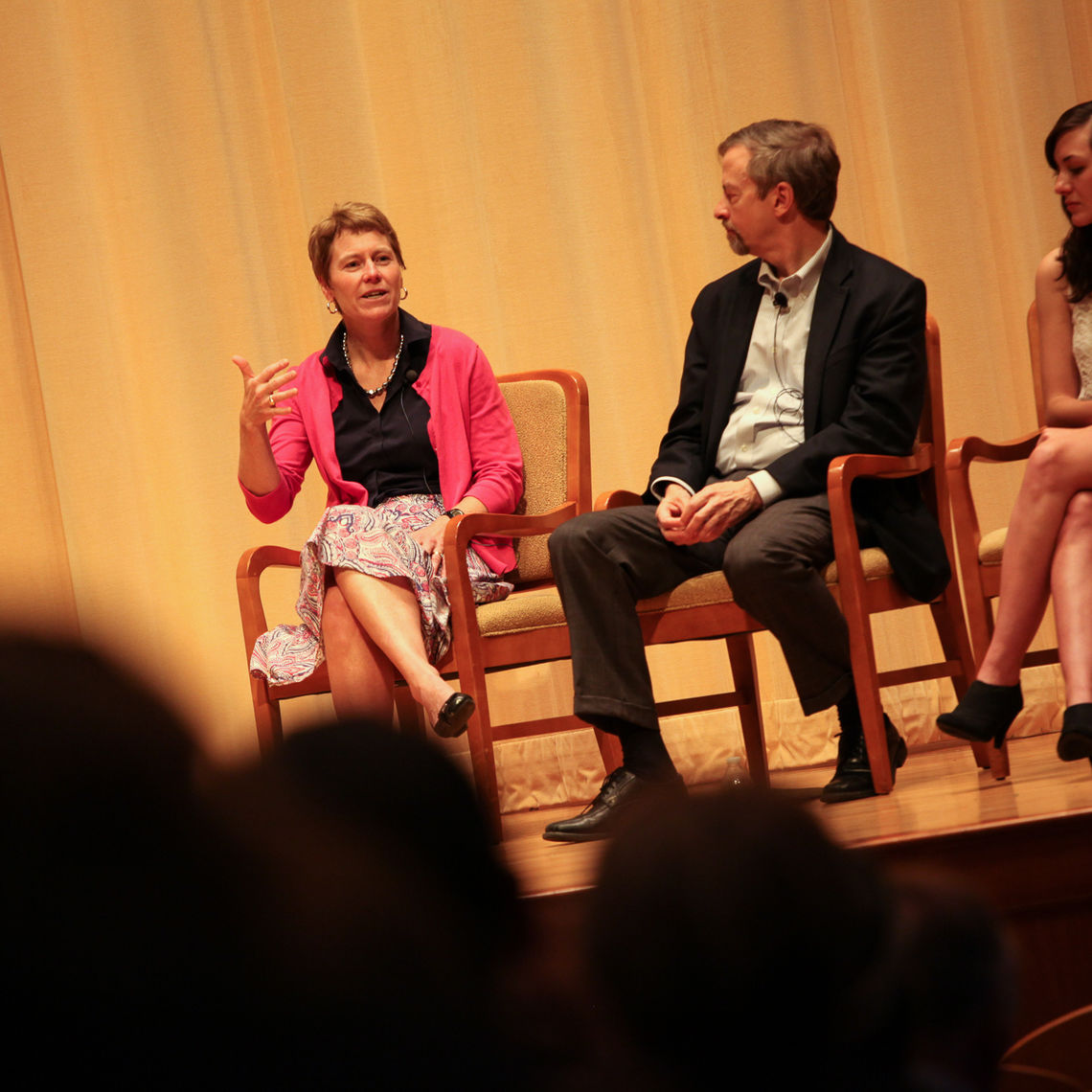 During a panel talk, Dean of the College Margaret Hazlett, Provost and Dean of the Faculty Joel Martin and junior Kelsey Leigh Reber discuss with the F&M community the College's programs and growth. The panel was led by President Daniel R. Porterfield.