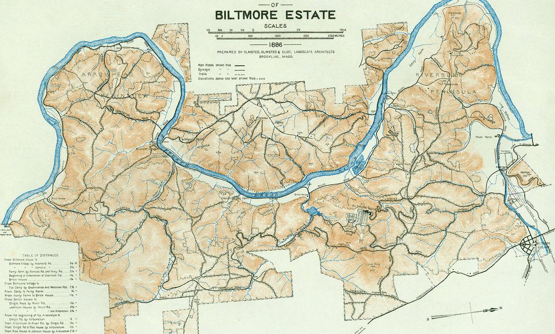 Guide Map of Biltmore Estate, 1896.