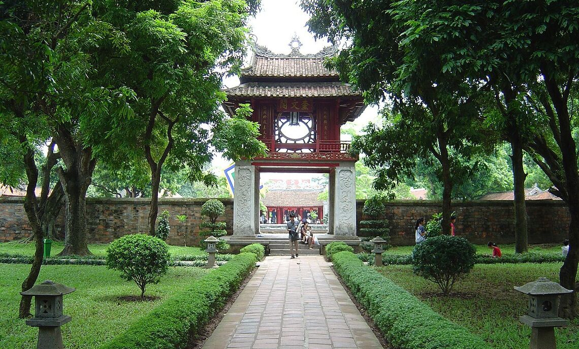 Entrance to the Temple of Literature in Hanoi, Vietnam.