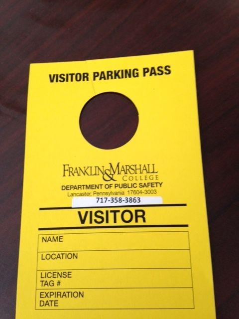 Visitor Parking Pass/Hang Tag