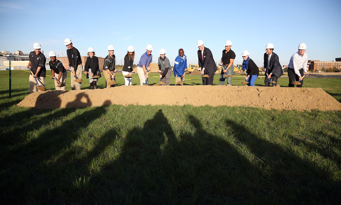 Participating in the ceremonial groundbreaking on the North Campus site for Shadek Stadium are (left to right): Head Football Coach John Troxell, football running back Taalib Gerald, former Head Football Coach Tom Gilburg, Athletic Director Patty Epps, men's lacrosse midfielder Mike Wasik, women's lacrosse defender Vanessa Budd, Women's Lacrosse Coach Mike Faith, Men's Lacrosse Coach Todd Cavallaro, Senior Associate Director of Athletics Shawn Carty, Al Ingraham '72, Andy Zuch '90, Board of Trustees Chair Sue Washburn '73, President Dan Porterfield and Larry Shadek '72.