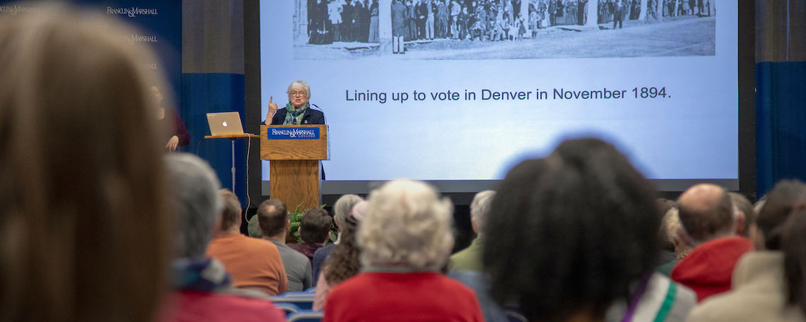 Ann Gordon, Rutgers University research professor emerita and editor of the Elizabeth Cady Stanton & Susan B. Anthony Project, speaks at the Feb. 27 Common Hour.