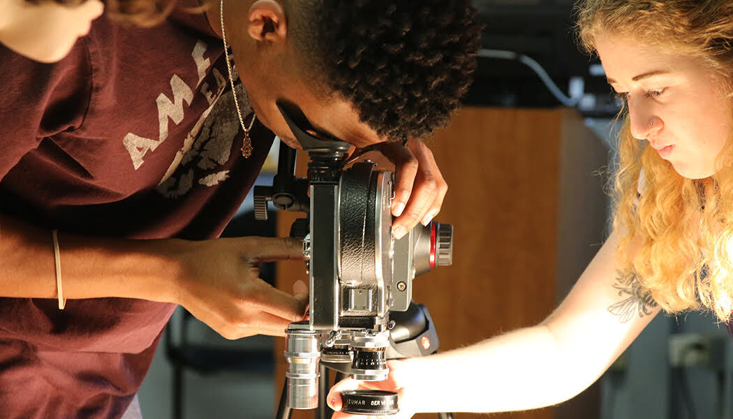 Film students working