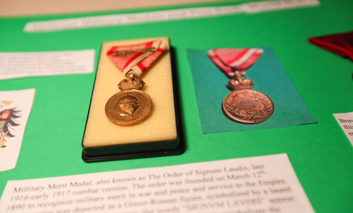 Sophomore Jeffrey Kempler's exhibit featured an array of medals and pins awarded to soldiers of the Austria-Hungary military. Kempler purchased the medals on eBay and from antiquarian shops in Europe.