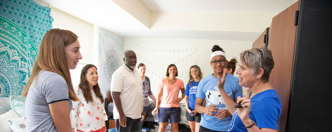 President Barbara K. Altmann, Ph.D., welcomes first-year students and their families on Move-In Day in August.