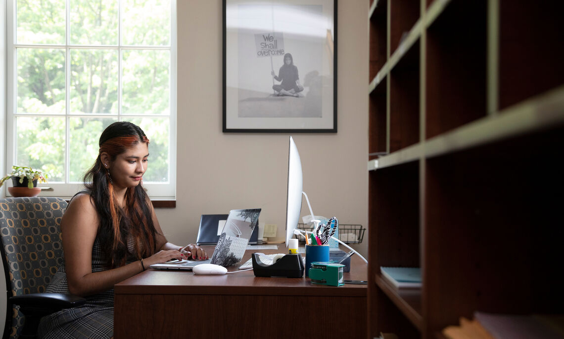 Yuliana Tamayo '23 is researching the economic effects of COVID-19 on immigrants in Lancaster. She will compile and analyze much of her data at this desk in Harris.