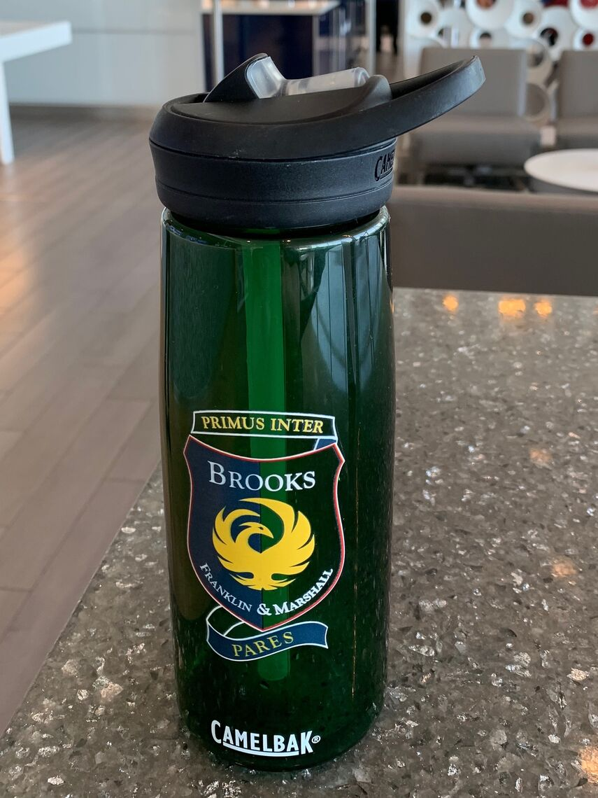 Water  bottle showing Brooks House crest and motto