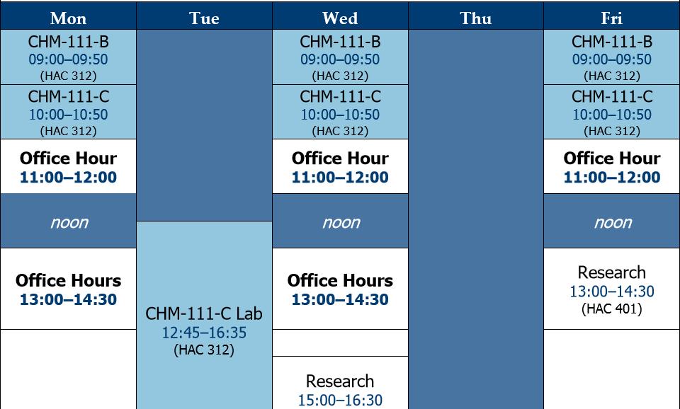 Professor Labonte's Fall 2019 cchedule