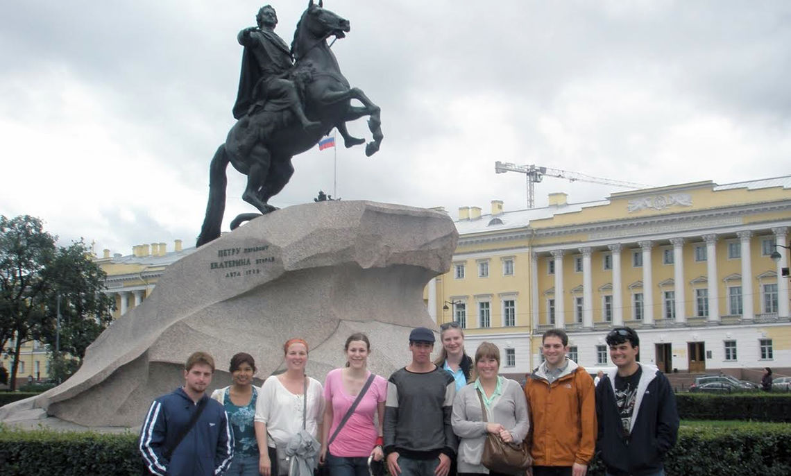 Stone says cultural exploration is a cornerstone of the F&M in Russia program. Here, the Bronze Horseman monument in Senate Square in St. Petersburg, Russia, with the old Senate building in the background, is a marker to the country's history and culture.