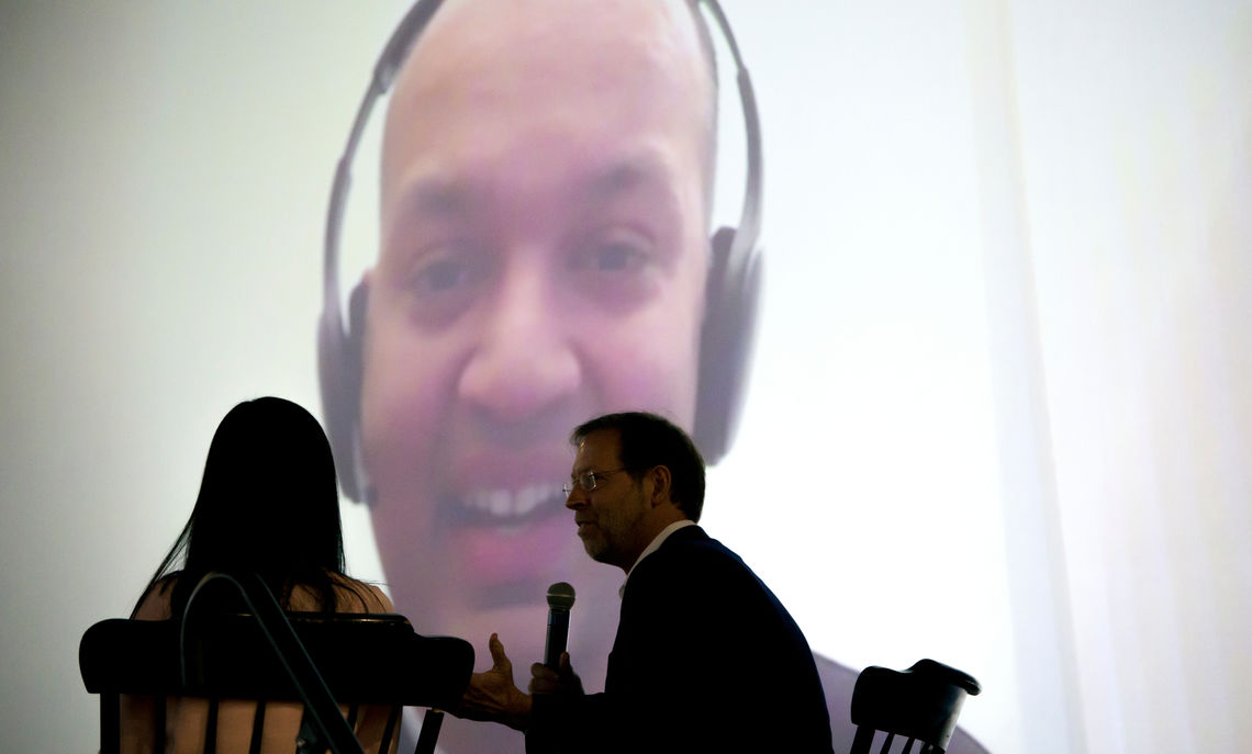 Common Hour speaker Nipun Mehta joined the audience through a video call. President Dan Porterfield and Sophie Wu '18 facilitated a question and answer session.