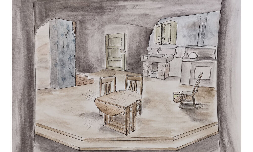 "Scenic design by Yuhang Wang for ""Trifles,"" a one-act play written by Susan Glaspell. Scene design rendering."
