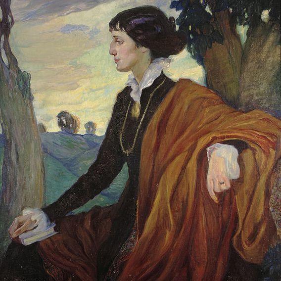 A 1914 portrait of Anna Akhmatova painted by Olga Della-Vos-Kardovskaya.