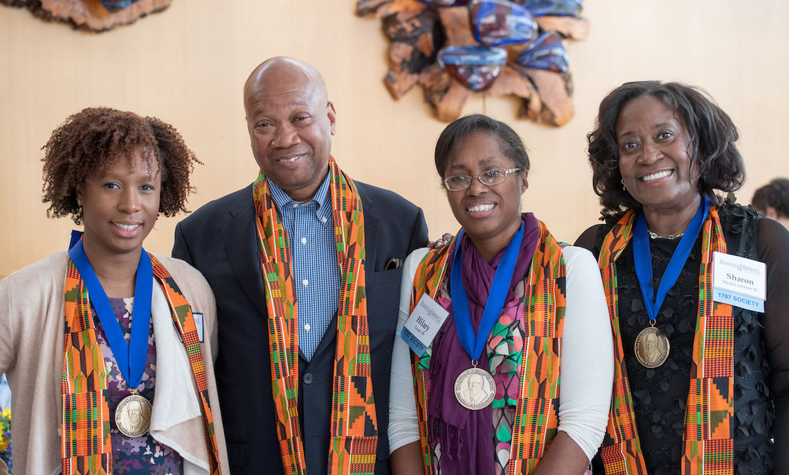 Distinguished alumni received the Sydney N. Bridgett '51 Award at Saturday morning's African American Alumni Council Bridgett Award Breakfast. They included Marilise Hyacinth '03, Charles Williams III '66, Hilary Green '99 and Sharon Johnson '82; LeRoy Pernell '71 was not present.