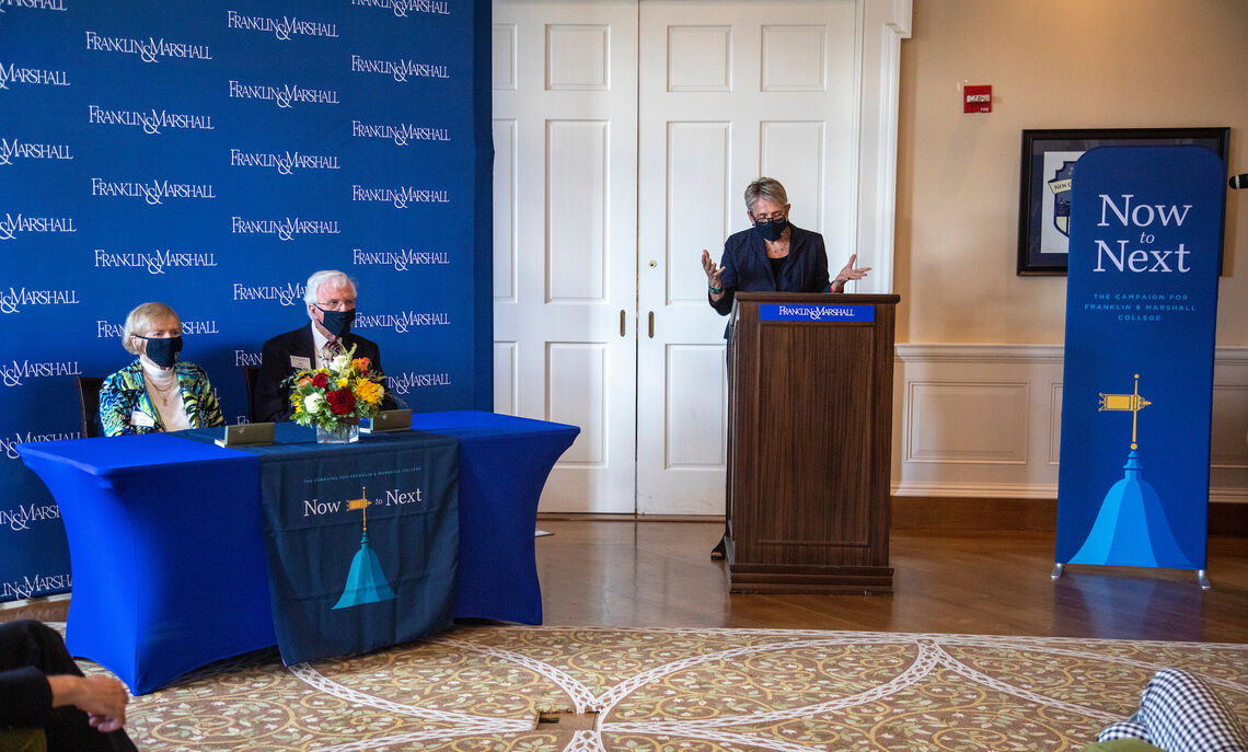 F&M President Barbara Altmann provides opening remarks at a small ceremony to recognize Dr. Robert '54 and Anna Roschel's gift of $6.5 million to rename New College House as Roschel College House.