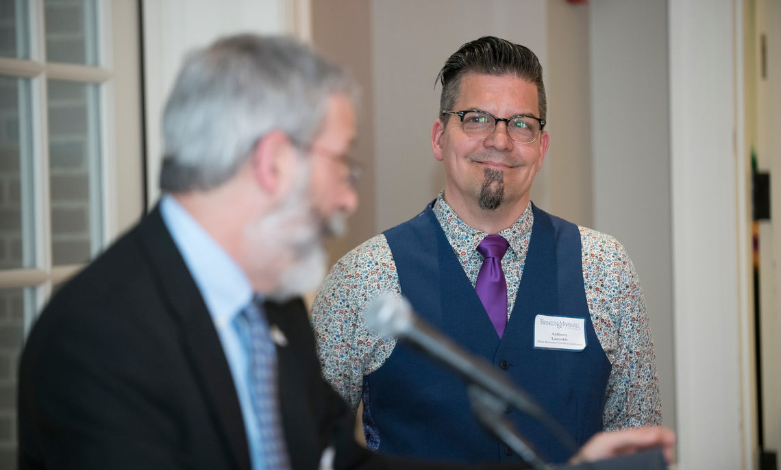 Ralph Taber P'16, associate dean of the College and director of the Klehr Center for Jewish Life, acknowledged for Anthony Lascoskie the supportive environment he has helped to foster in his 22 years of service.