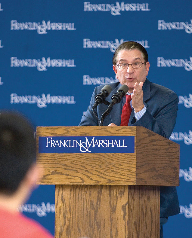 G. Terry Madonna, director of the Franklin & Marshall College Poll and the Center for Politics and Public Affairs at F&M, answers a student's question during a Sept. 27 Common Hour panel centering on the presidential election.