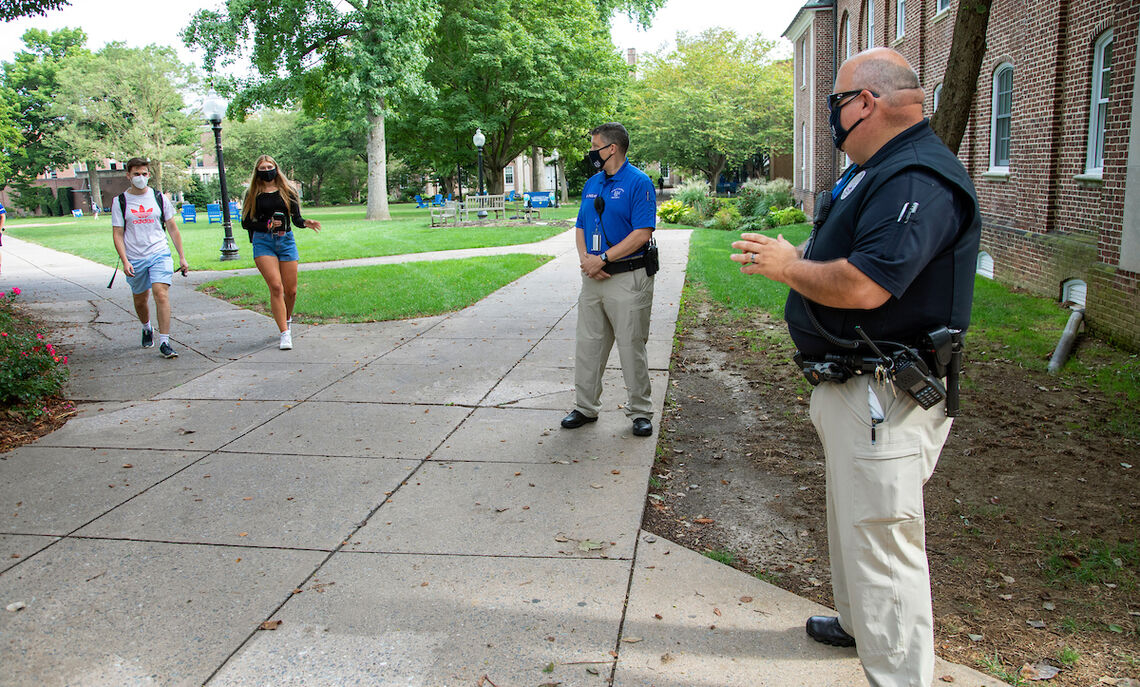 Security Officer Paslay and Crime Prevention Officer Keely Johnston patrol the campus grounds in their new uniforms.