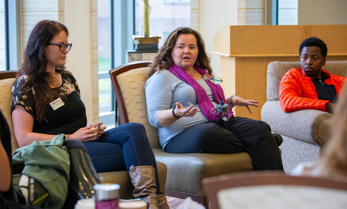Before Common Hour, MeTooSTEM founder McLaughlin met with students, faculty and staff to discuss how to change what she calls a failed system for addressing sexual harassment.