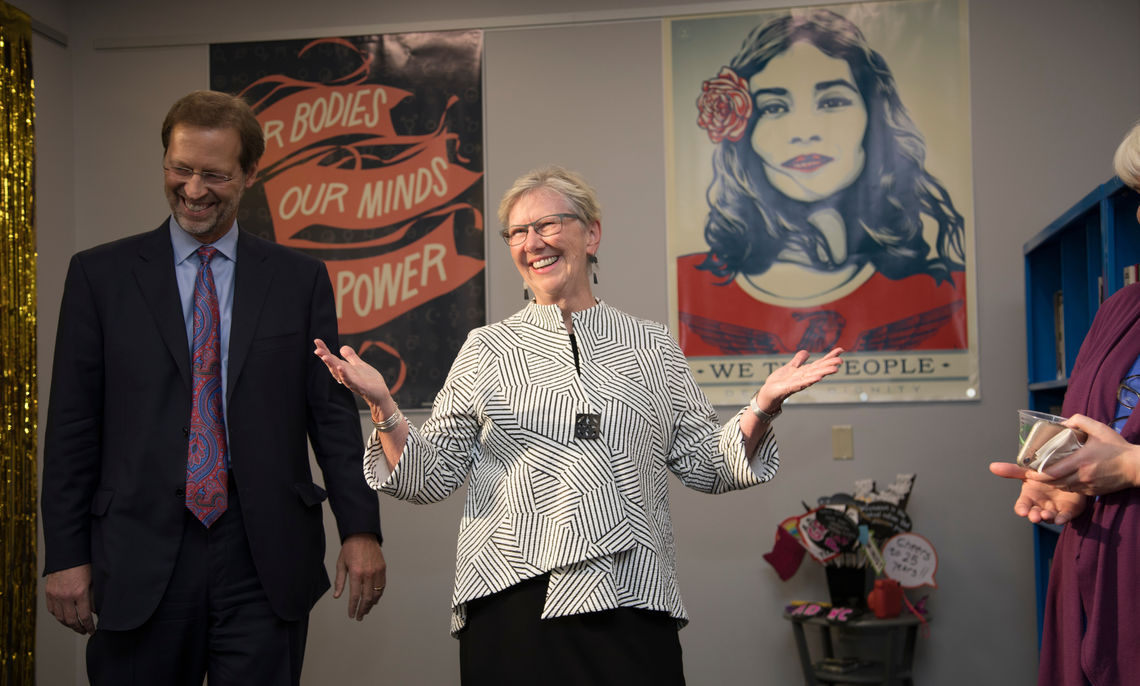 President Daniel R. Porterfield invited Sue Washburn '73, chair of the College's Board of Trustees, to speak at the 25th anniversary celebration of the Alice Drum Women's Center.
