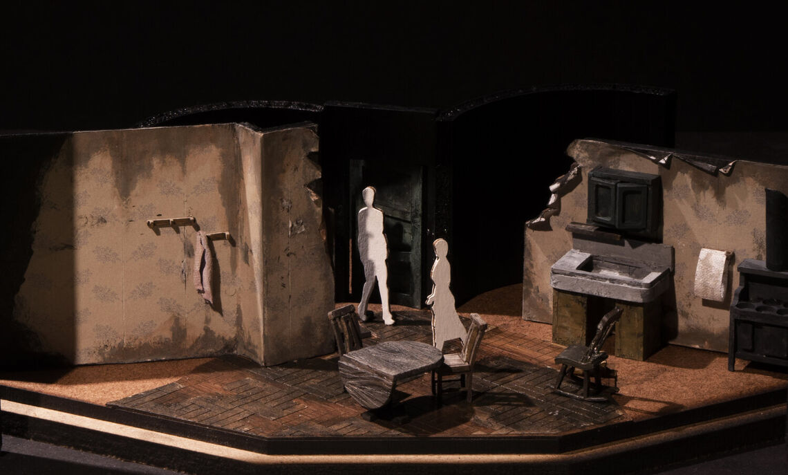 "Scenic design by Yuhang Wang for ""Trifles,"" a one-act play written by Susan Glaspell. Stage, left section. Scene design model."
