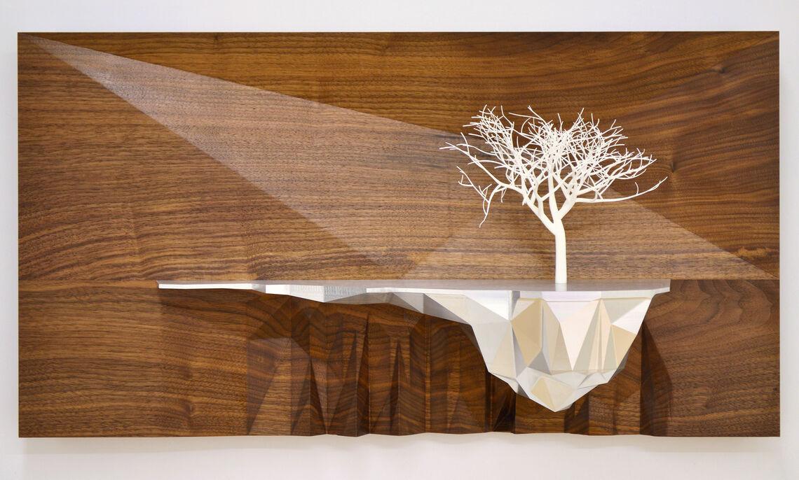 "Ryan Hoover. Arborescent Algorithm Series, Seed 5008-AL, 2015. Nylon 3D print, walnut, and aluminum, 15 x 27 x 9"". Courtesy of the artist."