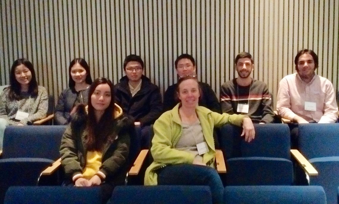 Representing the F&M Math Department at an EPaDel Conference at Kings College are (l-r), first row,  Yunfan Wu '19 and Prof. Annalisa Crannell; second row, Yuxi Krystal Zhu '19, Yike Gong '19, Chenxu Wang '20, Zhengyi Xiao '21 , Matthew Turetsky '21 and Nart Shalqini '21.