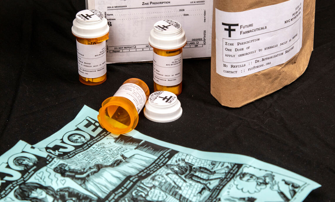 Fly. Future Farmacuticals Box Set, 2018, ed. of 10. Pill bottles, inkjet prints, adhesive labels, and cardboard box. Special Collections Rare Materials, N7433.4 .F628 F88 2018.