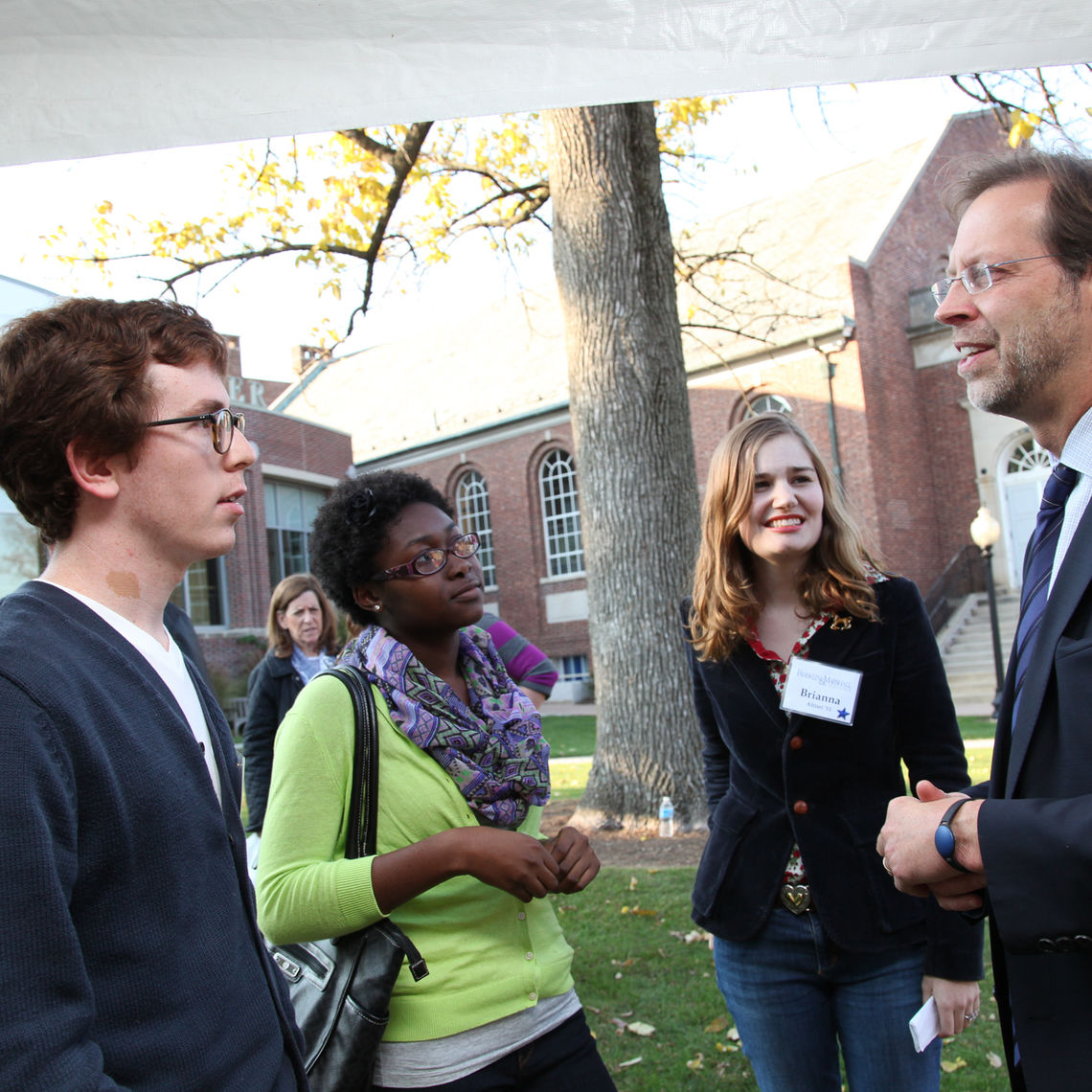 On Saturday afternoon, F&M President Daniel R. Porterfield spends some time meeting with students, parents and alumni.