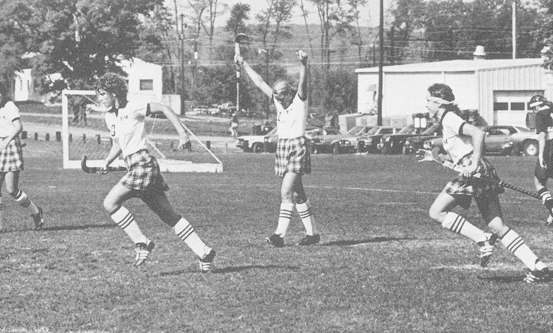 The 1981 field hockey team, coached by Sue Kloss, finished second in the NCAA Division III tournament. Melinda Reuter, Leanne McFalls (1982 All American), Sandy Swope (1982 All American), and Donna Zaccaria (1982 and 1983 All American) celebrate following McFalls' goal, the only score in a tough game against Elizabethtown College on October 10, 1981. The women's lacrosse team also finished second in the 1981 NCAA Division III tournament.