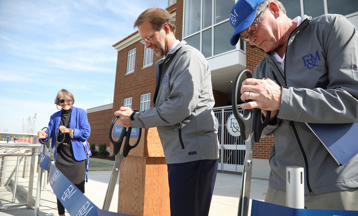 F&M President Daniel R. Porterfield; Larry Shadek '72, P'05, P'06, for whose family the stadium is named for providing the lead gift; and Athletic Director Patricia Epps cut the ribbon to open Shadek Stadium. The Diplomats christened the facility with a 56-0 win over conference rival Dickinson College and brought home the coveted Conestoga Wagon.