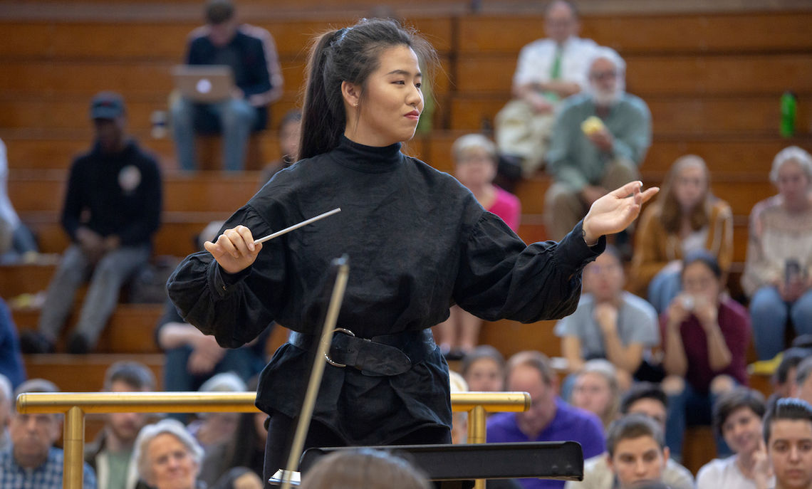 "Senior Yinxi Evan Li conducts Franz Schubert's Symphony No. 8 in B Minor (""Unfinished"")."