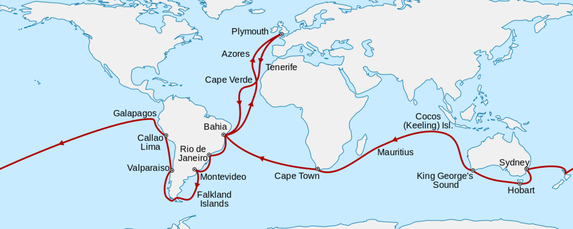 Voyage of the HMS Beagle in the 1830s.