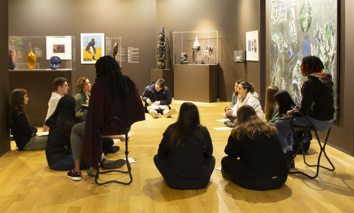 Class discussion in the Nissley Gallery as part of Professor Barlett's Psychology of Happiness class. Photo by Gina Erdyneeva '20.