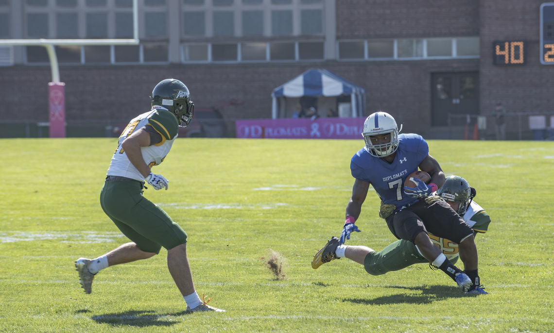Junior running back Taalib Gerald totaled 192 all-purpose yards with two scores to lead the Diplomats to a 25-7 victory over McDaniel on Saturday in Centennial Conference game.