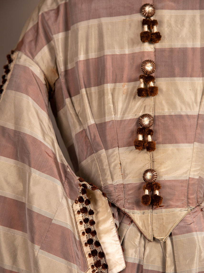 Striped silk dress from the late 19th century