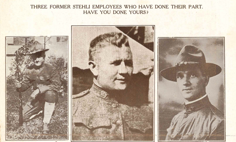 """Three former workers of Stehli Silk Mill pictured in """"Our Patriot's Herald"""" as soldiers Missing in Action or Killed in Action."""