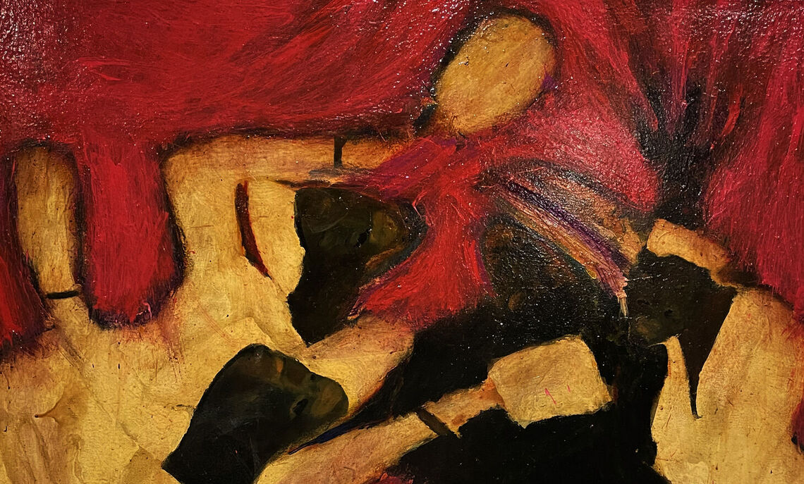 """Woman comforted by church nurses at the funeral, 2012. Mixed media on canvas, 48 x 60""""."""