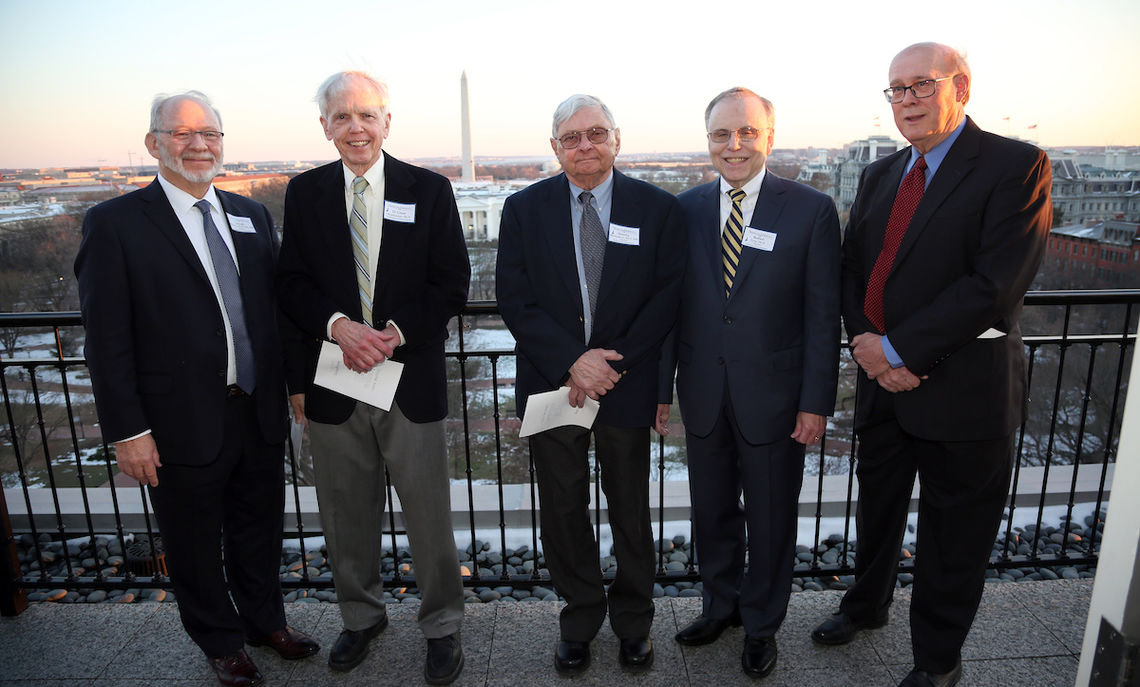 The newly retired faculty, from left to right – Professors Joseph Karlesky P'01, P'04, Grier Stephenson, Stanley Michalak P'89, Robert Gray and Robert Friedrich P'11 – honored at the Hay-Adams Hotel in the nation's capital.