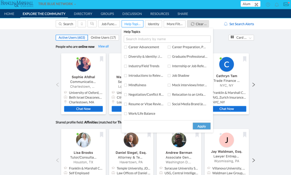 True Blue Network Search Functionality