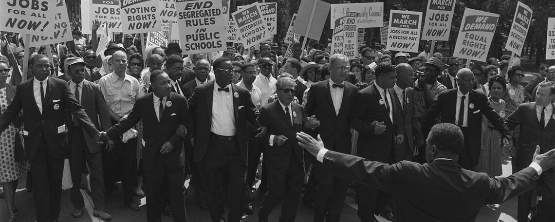 Rev. Dr. Martin Luther King leads marchers for jobs and rights in Washington, D. C. in 1963,