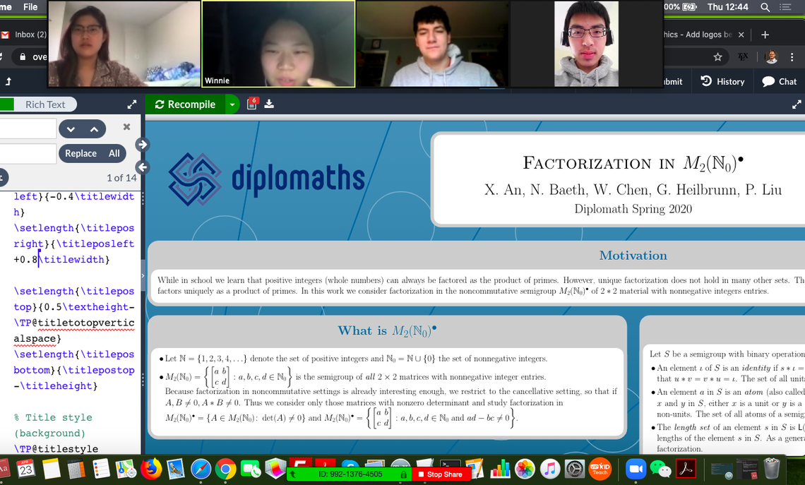 "The computer screenshot  above shows one of Prof. Nick Baeth's  Spring 2020 Diplomath teams collaborating on their research, ""Atoms and factorization in semigroups of 2x2 matrices.""  From left:  Xuyan An '22, Winnie Chen '23, Greg Heilbrunn '23 and Peter Liu '23."