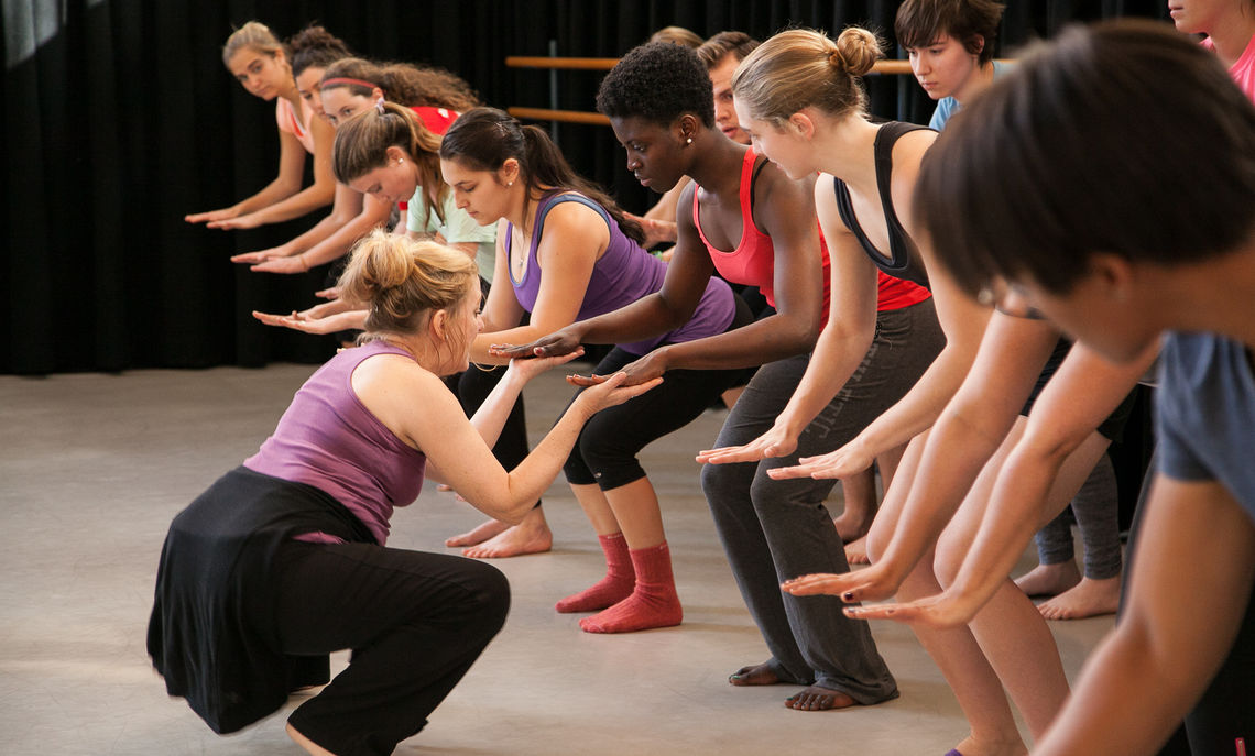 For the past 35 years Stuart Pimsler (F&M Alum '71) has embraced such issues as love, loss, and social conflict creating performance works for his company, Stuart Pimsler Dance & Theater.   Pictured here his company leads activities in a dance class in Roschel.  His company spent a weeklong residency at F&M and will culminate in a performance by his troupe in the Schnader Theatre of Roschel Performing Arts Centre on Saturday evening, November 9th.