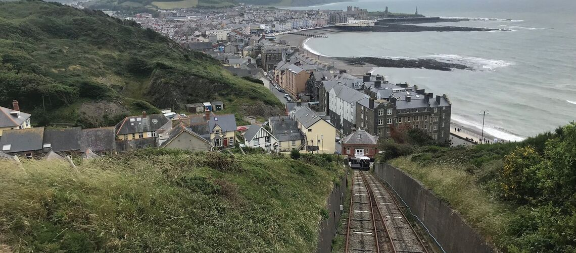 A view of Aberystwyth from a tram traveling down Constitution Hill.