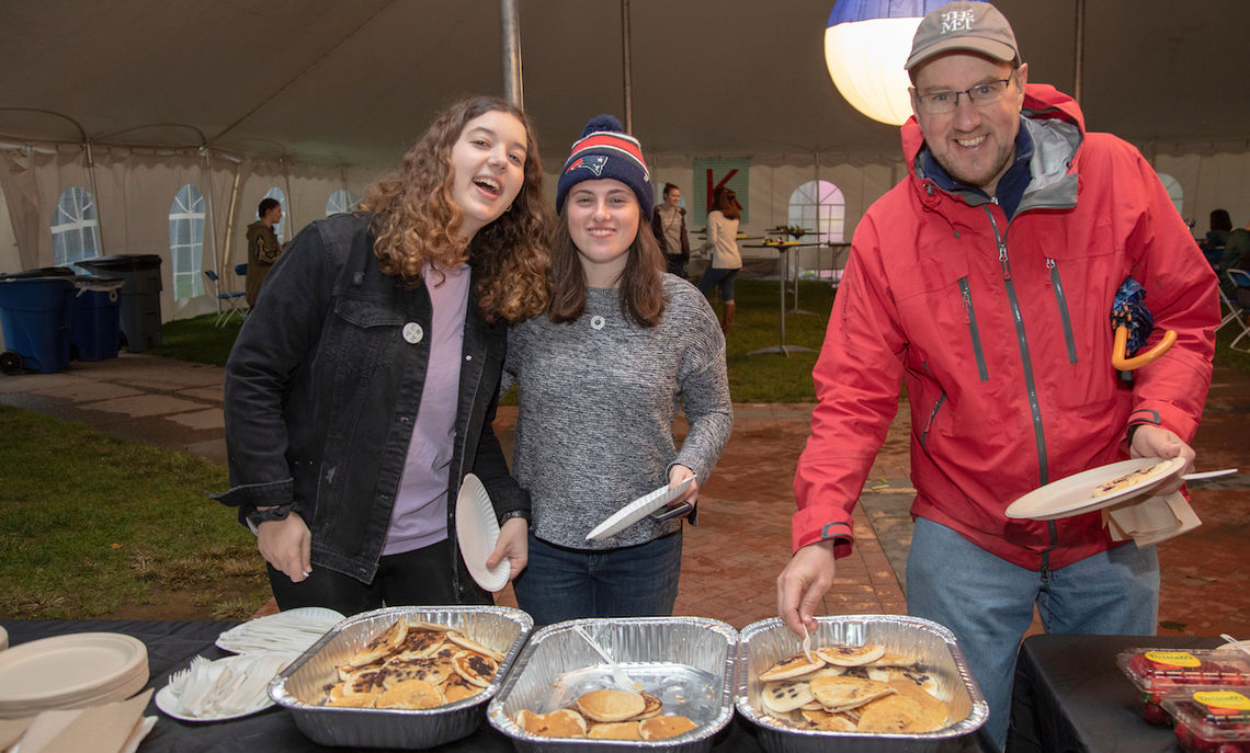 It's not Homecoming and Family Weekend without Kappa Delta's pancake breakfast. Early risers could get a stack inside the big tent on Hartman Green while the nor'easter blew outside.