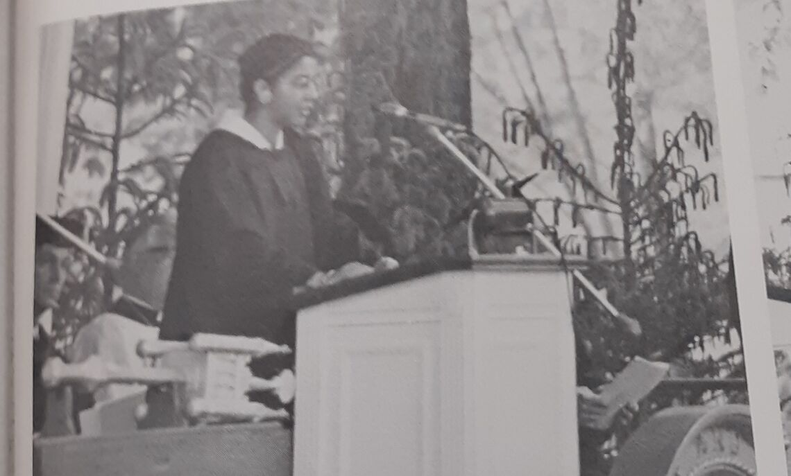 Mizan (Roberta) Kirby-Nunes '73, the only Black woman to graduate that year, speaking at the 1973 commencement ceremony.