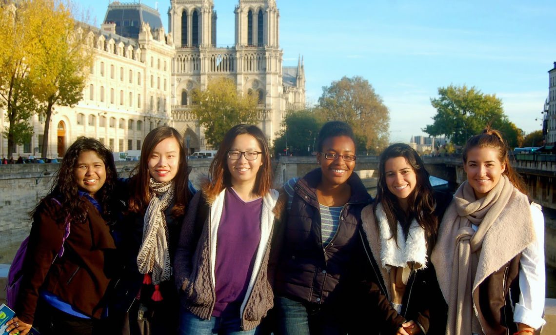 During a walk along the Seine, which winds through Paris, F&M students (left to right) Tessla Cerrato, Xiaoyi Zhang, Xiaoyu Wang, Kianna Wirts, Andrea Solis and Ann Hagner stop along Saint Michael's Bridge before visiting the historic Notre Dame Cathedral, completed in 1345 after 182 years of construction.