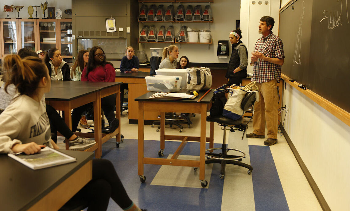 Students in a spring 2018 class led by Daniel Ardia, professor of biology and the program chair of international studies.