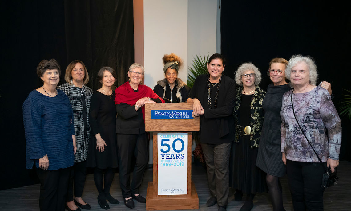 The pioneers: Some of the first women to attend F&M gather for a reception to celebrate 50 years of co-education.