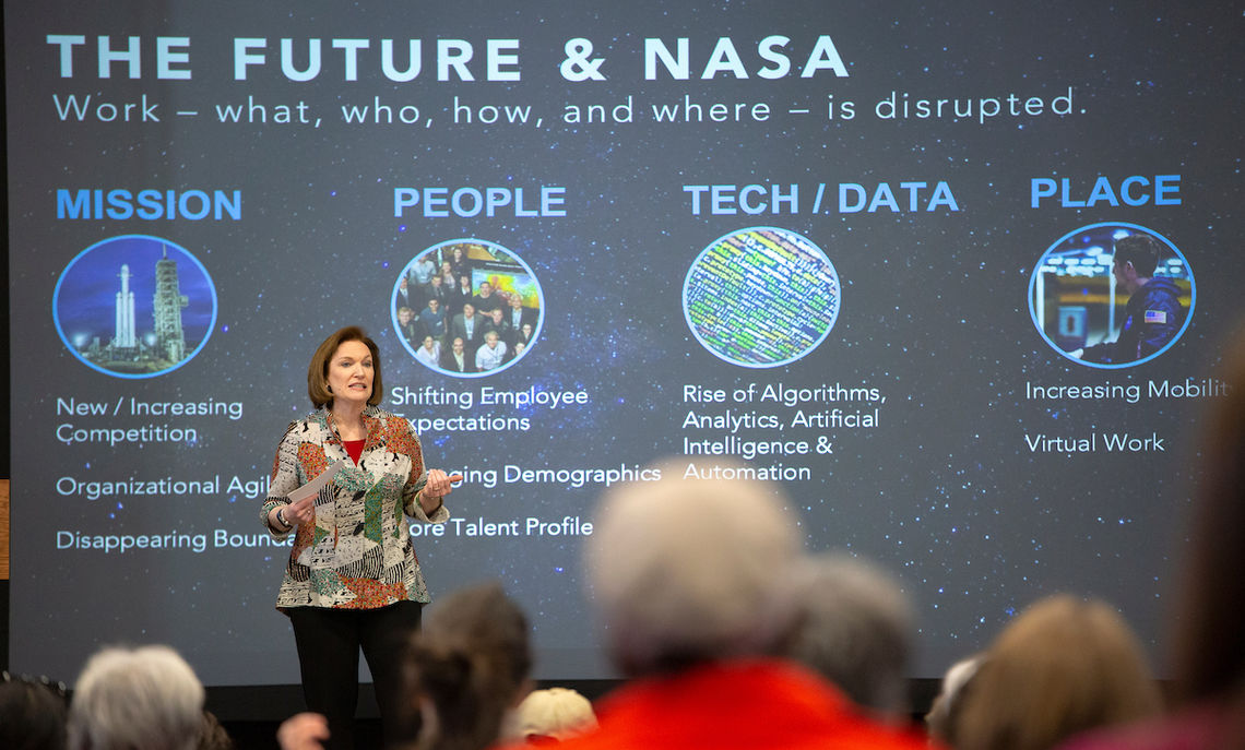"""""""NASA got challenged with putting a man on the moon within five years,"""" says Elizabeth Kolmstetter, director of talent strategy and engagement at NASA and whose daughter, Nicole, and F&M sophomore, provided the introduction at Common Hour."""