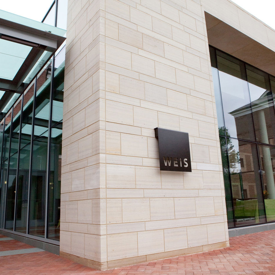 The entrance to Weis College House on the afternoon of the dedication ceremony.